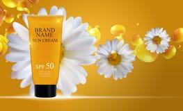 Bottiglia della crema di cura di Sun, modello della metropolitana per gli annunci o rivista Backgro Immagine Stock
