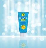 Bottiglia della crema di cura di Sun, modello della metropolitana per gli annunci o rivista Backgro Immagini Stock Libere da Diritti