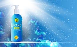 Bottiglia della crema di cura di Sun, modello della metropolitana per gli annunci o fondo della rivista 3D vettore realistico Iil Immagini Stock