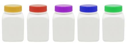 Bottiglia della medicina con il percorso di residuo della potatura meccanica Fotografie Stock
