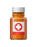 Bottiglia della medicina con l'etichetta Fotografie Stock