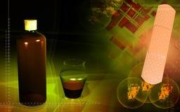 Bottiglia della medicina, vaso di misurazione e plast medico Fotografia Stock