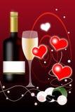 Bottiglia della priorità bassa e di vino di giorno dei biglietti di S. Valentino Immagini Stock Libere da Diritti