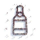 Bottiglia della rappresentazione della gente 3D della birra Fotografia Stock Libera da Diritti