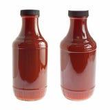 Bottiglia della salsa di barbecue su bianco Fotografie Stock Libere da Diritti