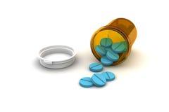Bottiglia delle pillole blu Fotografia Stock