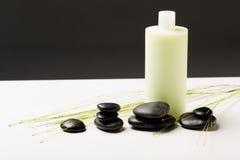 Bottiglia dello sciampo, pietre di massaggio e pianta verde Fotografia Stock