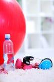 Bottiglia di acqua, della sfera di Pilates e dei dumbbells Immagine Stock