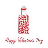 Bottiglia di amore con i cuori dentro. Biglietti di S. Valentino felici D Immagini Stock Libere da Diritti