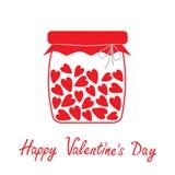 Bottiglia di amore con i cuori dentro. Biglietti di S. Valentino felici D Immagine Stock Libera da Diritti