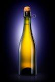 Bottiglia di birra, di sidro o di champagne isolati sul fondo nero di pendenza Fotografia Stock Libera da Diritti