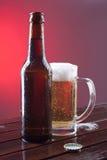 Bottiglia di birra e un vetro Fotografie Stock Libere da Diritti
