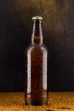 Bottiglia di birra marrone fredda sul nero Fotografie Stock