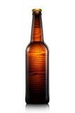 Bottiglia di birra o di sidro isolato su fondo bianco Fotografie Stock