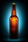 Bottiglia di birra o di sidro isolato su fondo blu scuro Immagini Stock