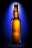 Bottiglia di birra o di sidro isolato su fondo blu scuro Fotografie Stock