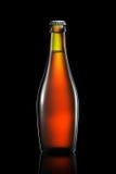 Bottiglia di birra o di sidro isolato su fondo nero Immagine Stock