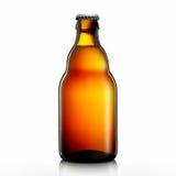 Bottiglia di birra o di sidro su fondo bianco Fotografia Stock Libera da Diritti