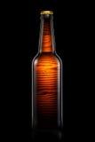 Bottiglia di birra o di sidro su fondo nero Immagini Stock