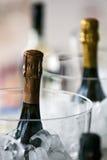 Bottiglia di Champagne con ghiaccio. Fotografie Stock