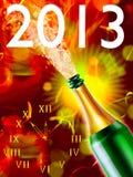 Bottiglia di champagne e dell'orologio Fotografia Stock