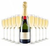 Bottiglia di Champagne e vetri del champagne Immagine Stock