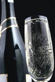 Bottiglia di Champagne e vetro V Fotografia Stock Libera da Diritti