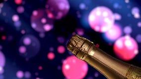 Bottiglia di Champagne Fondo blu di festa di lampeggiamento video d archivio