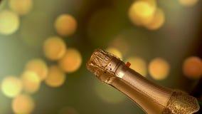 Bottiglia di Champagne Fondo di lampeggiamento di festa stock footage
