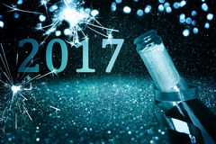 Bottiglia di champagne Nuovo anno felice Fotografie Stock