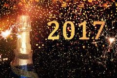 Bottiglia di champagne Nuovo anno felice Immagini Stock Libere da Diritti