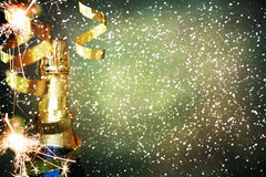Bottiglia di champagne Nuovo anno felice Fotografia Stock
