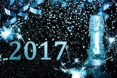 Bottiglia di champagne Nuovo anno felice Immagine Stock