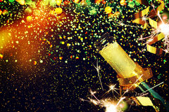 Bottiglia di champagne Priorità bassa di natale Fotografie Stock