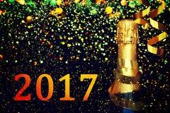 Bottiglia di champagne Priorità bassa di natale Immagini Stock