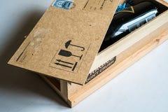 Bottiglia di Champagne ricevuta per posta Fotografia Stock