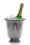 Bottiglia di Champagne su ghiaccio Fotografia Stock Libera da Diritti