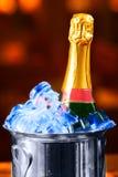 Bottiglia di Champagne in una benna Immagini Stock