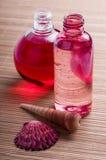 Bottiglia di cura del corpo e della stazione termale Fotografia Stock