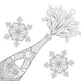 Bottiglia di esplosione di Champagne, fiocchi di neve nello stile dello zentangle Fotografia Stock Libera da Diritti