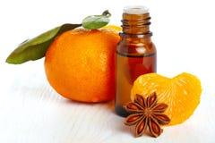 Bottiglia di essenza aromatica e dell'arancio fresco Fotografie Stock Libere da Diritti