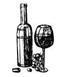 Bottiglia di immagine e vetro dell'illustrazione del vino rosso Fotografie Stock Libere da Diritti