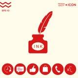 Bottiglia di inchiostro con la piuma - icona Immagine Stock