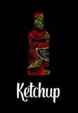 Bottiglia di ketchup con il pomodoro, pomodoro della fetta, foglia Schizzo disegnato a mano di colore su fondo nero d'annata Illu Fotografia Stock