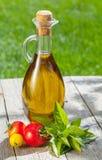 Bottiglia di olio d'oliva, agitatore del pepe, pomodori ed erbe Fotografie Stock Libere da Diritti