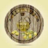 Bottiglia di olio d'oliva, di olive e di ramo di ulivo su fondo di legno Disegnato a mano Fotografia Stock