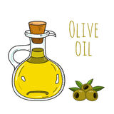 Bottiglia di olio d'oliva disegnata a mano variopinta Fotografie Stock Libere da Diritti