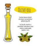 Bottiglia di olio d'oliva disegnata a mano variopinta con il testo del campione Fotografia Stock Libera da Diritti