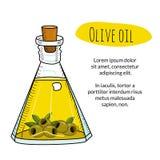 Bottiglia di olio d'oliva disegnata a mano variopinta con il testo del campione Fotografie Stock