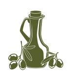 Bottiglia di olio d'oliva e di rami di ulivo Fotografie Stock